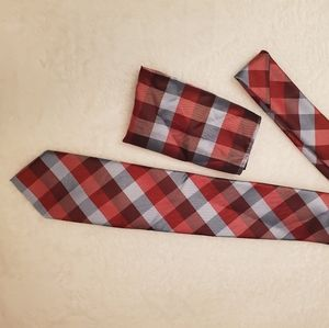Red and gray neck tie with pocket square